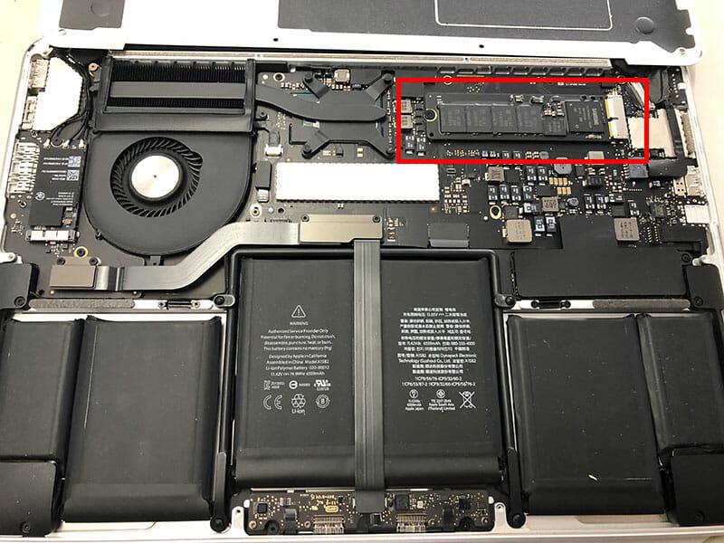 純正SSDにアクセス 赤枠の部分