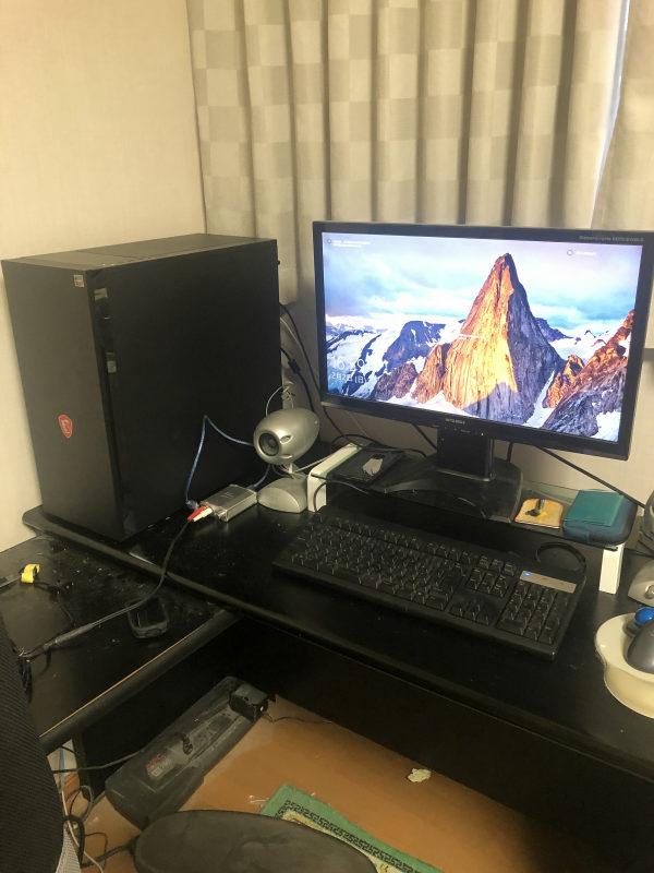 自作PC組み立て:デスクに設置して入れ替え完了