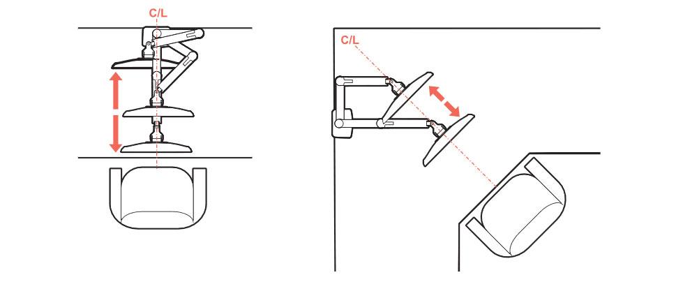 モニターアームを設置する場所はマニュアルに書いてあります